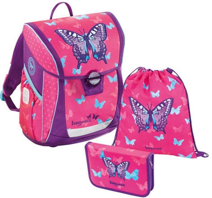 Step By Step Ранец школьный BaggyMax Niffty Sweet Butterfly с наполнением 3 предмета1047683Модель «Niffty» максимально эргономична. С помощью регулируемой по высоте системы, ранец можно оптимально адаптировать для спины каждого ребенка. Кроме того, он имеет регулируемые лямки и нагрудный ремень. Дно ранца оборудовано ножками для защиты от грязи и влаги. Система регулировки по высоте. Регулируемый нагрудный ремень. Мягкая, воздухопроницаемая и эргономичная спинка. Регулируемые и мягкие лямки. Два боковых кармана на резинке и дренажом. Фронтальный наружный карман для пенала. Кармашек на молнии, для денег и ключей. Ручка для переноски. Основное отделение разделено на 2 секции, для равномерного распределения веса. Расписание в крышке. Светоотражающие элементы. В комплект к ранцу идут пенал-книжка (7цв.карандашей с толстым грифелем, 12 цв.карандашей с тонким грифелем, линейка, угольник, точилка, ластик) и сумка для обуви.