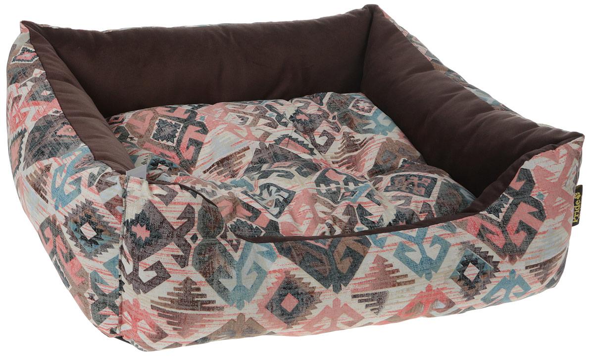 Лежак для животных Pride Этнос, цвет: розовый, голубой, 70 х 60 х 23 см