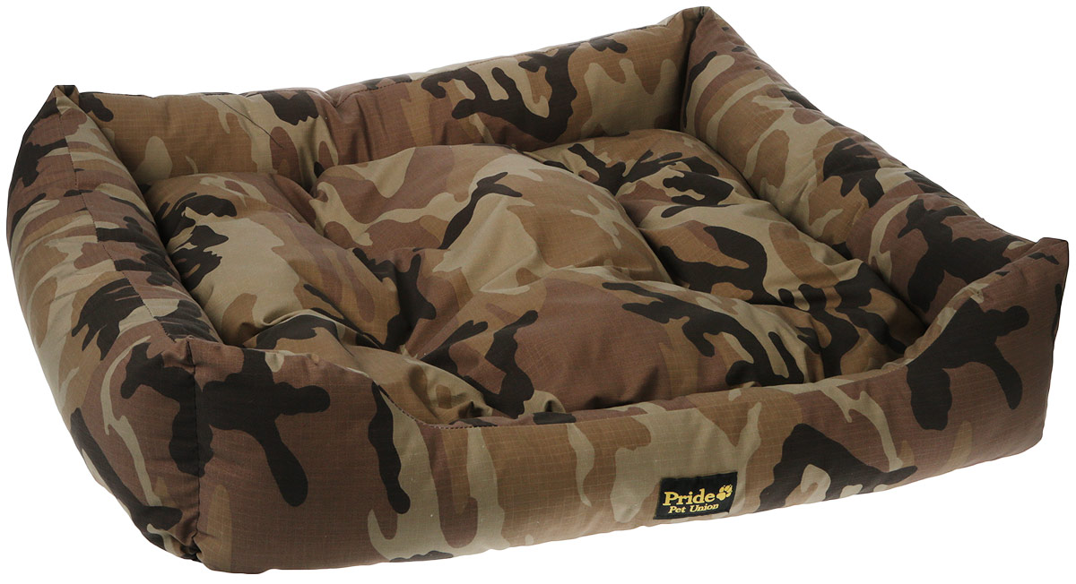 Лежак для животных Pride Милитари-2, цвет: коричневый, 90 х 80 х 25 см лежак для собак rogz luna podz цвет розовый 25 х 52 х 38 см