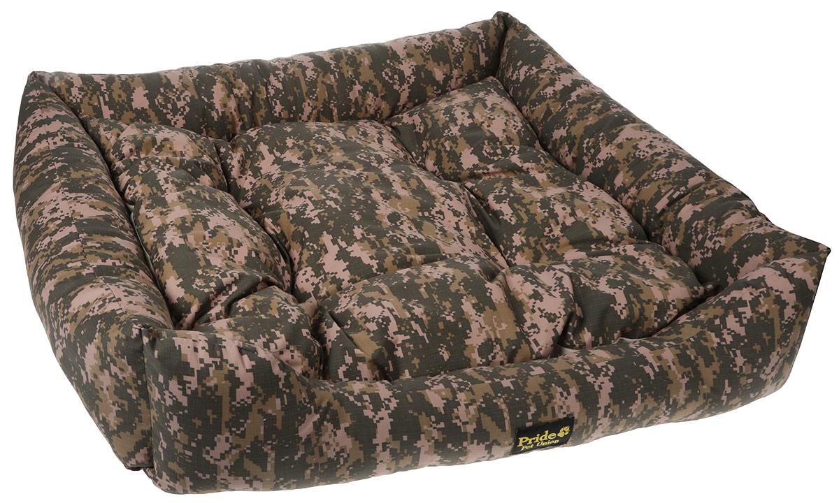 Лежак для животных Pride Милитари-1, цвет: зеленый, бежевый, 90 х 80 х 25 см