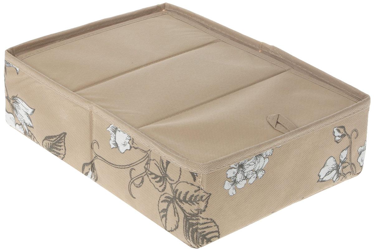 """Компактный складной кофр """"GFTC"""" изготовлен из нетканого материала, который обеспечивает естественную вентиляцию. Материал позволяет воздуху свободно проникать внутрь, но не пропускает пыль. Кофр отлично держит  форму, благодаря вставкам из плотного картона.  Изделие имеет 12 квадратных секций для хранения нижнего белья, колготок, носков и другой одежды.   Такой кофр позволит вам хранить вещи компактно и удобно, а оригинальный дизайн сделает вашу гардеробную красивой и невероятно стильной."""