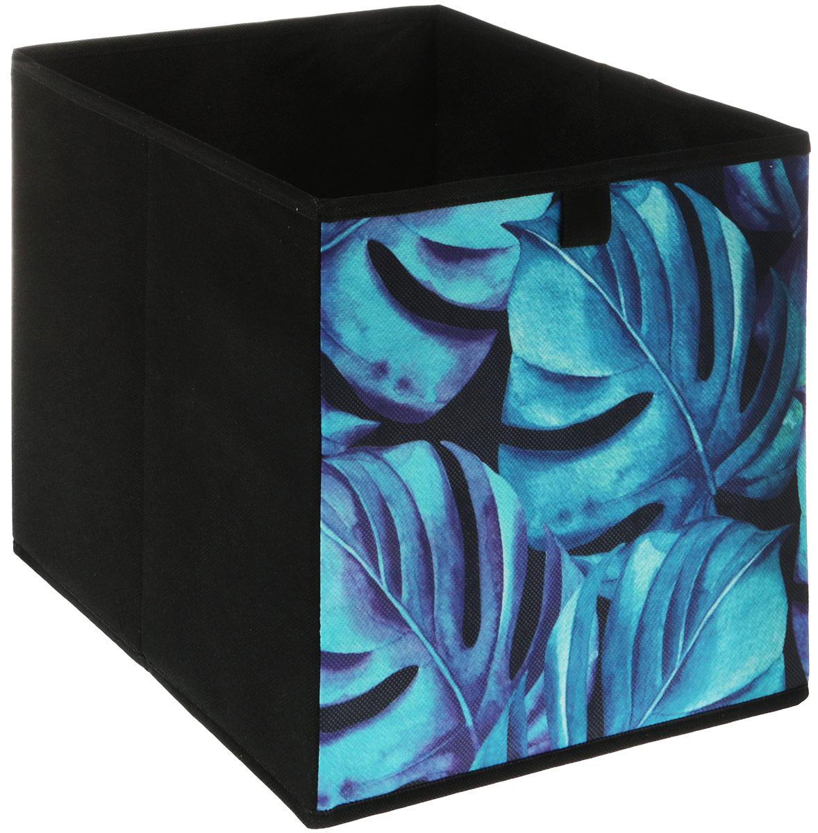 Кофр для хранения вещей GFTC Сирень, складной, цвет: бирюзовый, черный, 28 х 28 х 28 см. FS-2001-C кофр складной для хранения 28 18 18 см мексика с 2 ручками 1252424