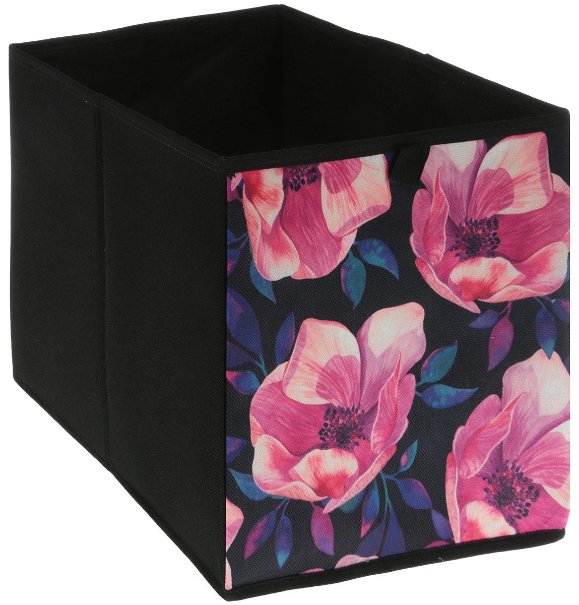 Кофр для хранения вещей GFTC Сирень, складной, цвет: розовый, черный, 28 х 28 х 28 см. FS-2001-B кофр складной для хранения 28 18 18 см мексика с 2 ручками 1252424
