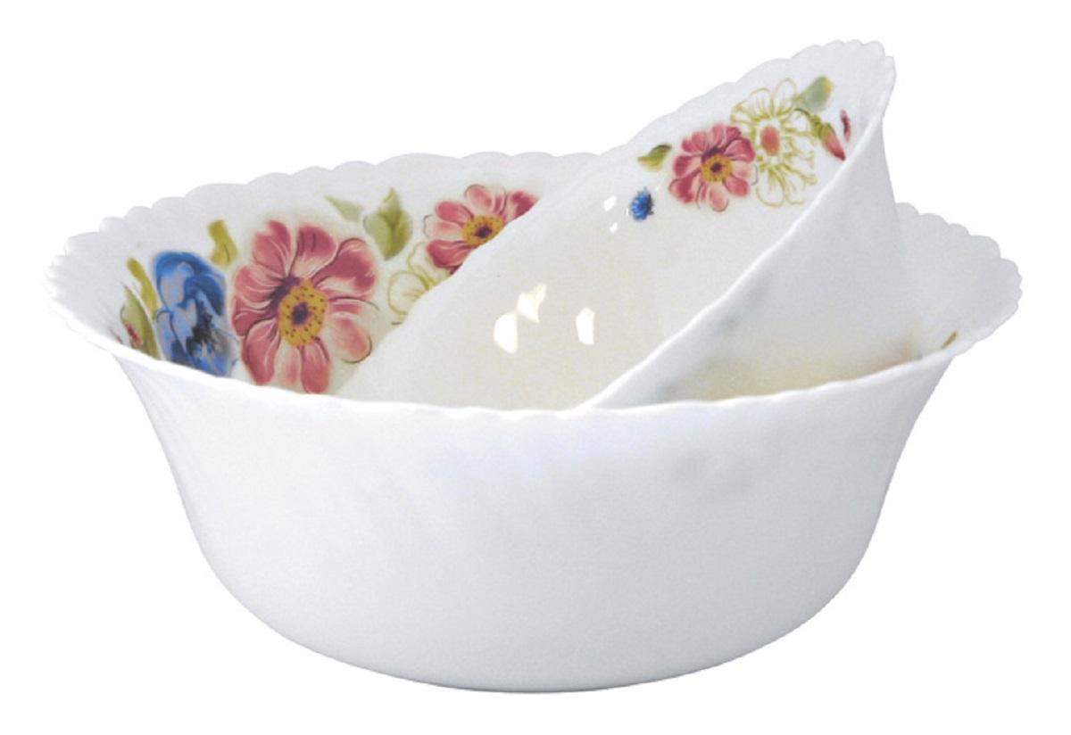 Стильный набор салатников из тонкой стеклокерамики с цветочным рисунком  состоит из 7 предметов.В наборе 6 салатников, диаметром 12,5 см и 1  салатник, диаметром 20 см.
