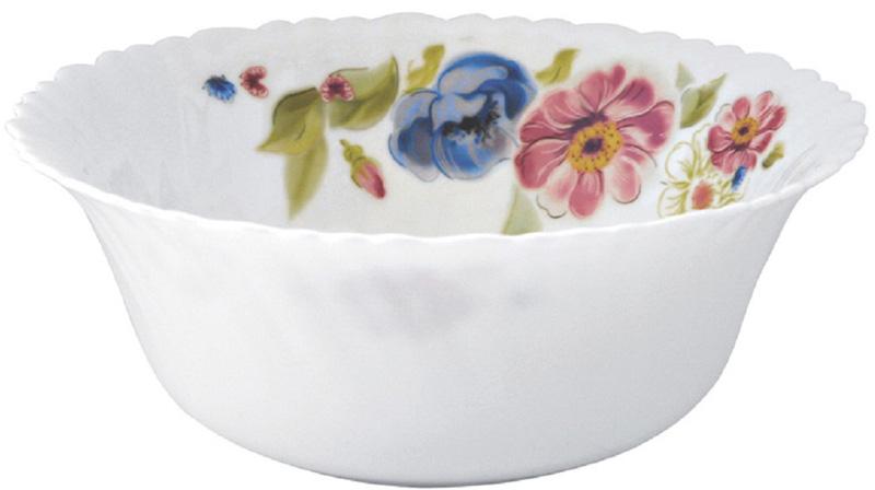 Яркий и изящный салатник из тонкой стеклокерамики с цветочным рисунком.
