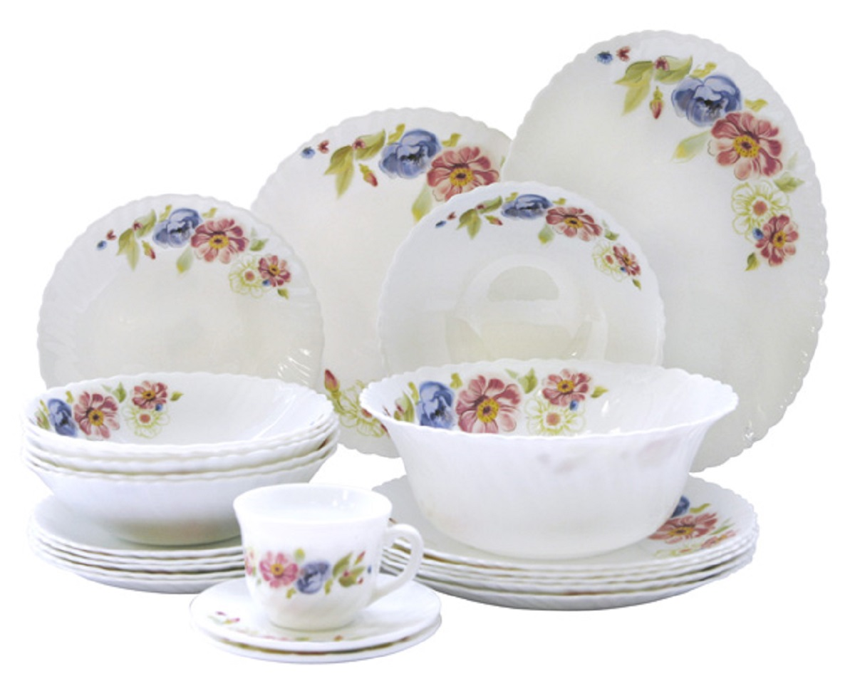 Сервиз столовый Chinbull Луара, цвет: белый, синий, розовый, 32 предметаOW-32A5/150506Стильный столовый сервиз Chinbull Луара из 32 предметов.Изделиявыполнены из высококачественной стеклокерамики и декорированы красочными узорами. Посуда отличается прочностью, гигиеничностью и долгим сроком службы, она устойчива кпоявлению царапин и резким перепадам температур. Такой набор прекрасно подойдет как дляповседневного использования, так и для праздников. Размеры: тарелка десертная 18 см - 6 шт; тарелка обеденная 23 см - 6 шт; миска суповая 18 см - 6шт; салатник 23 см - 1 шт; чашка 200 мл - 6 шт; блюдце 13 см - 6 шт; блюдо овальное 25 см - 1 шт.