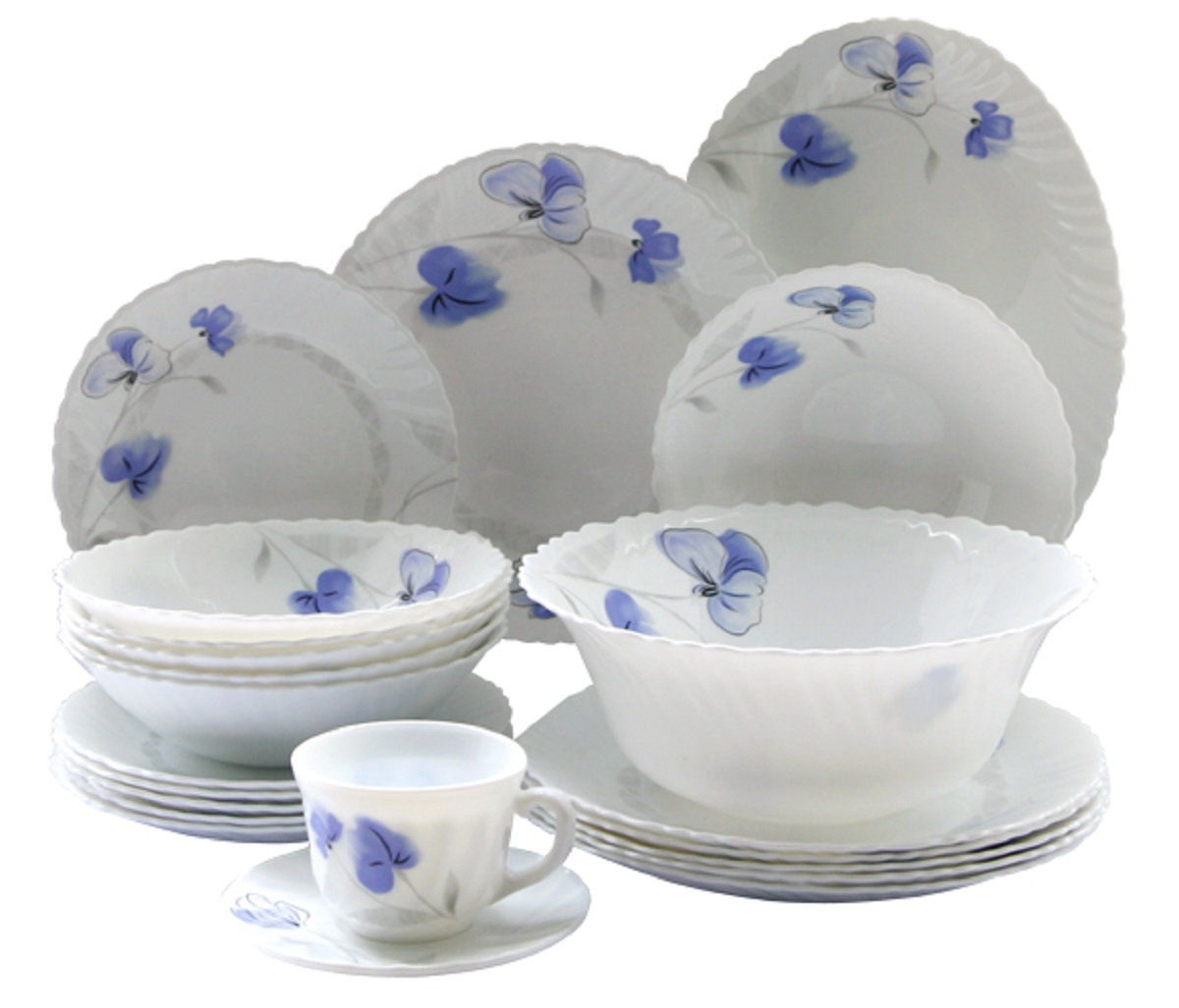 Сервиз столовый Chinbull Нанси, цвет: белый, синий, 32 предмета тарелка обеденная chinbull лоран диаметр 23 см