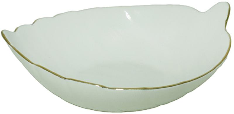 Яркий салатник изготовлен из тонкой стеклокерамики с золотым кантом.