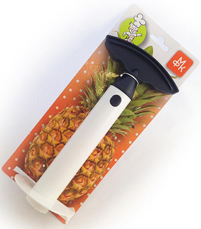 Приспособление для разделки ананаса МФК-профитMFK01329Слайсер для нарезки ананасов - это очень нужная в хозяйстве вещь. Конечно, всегда можно обойтись без него, если вы знаете, как без труда можно нарезать ананас идеальными ломтиками.Использовать слайсер очень просто: срезаете султан, вставляете нож и поворачиваете его. Затем вынимаете слайсейр из ананаса, и перед вами оказывается нарезанная одинаковыми кружочками мякоть ананаса и пустая его кожура. Кожуру, кстати, выбрасывать не надо. Удалите оставшийся ствол, и сложите в готовую емкость фруктовый салат.Подавайте салат в ананасе. Приспособление для разделки ананаса, из полипропилена.