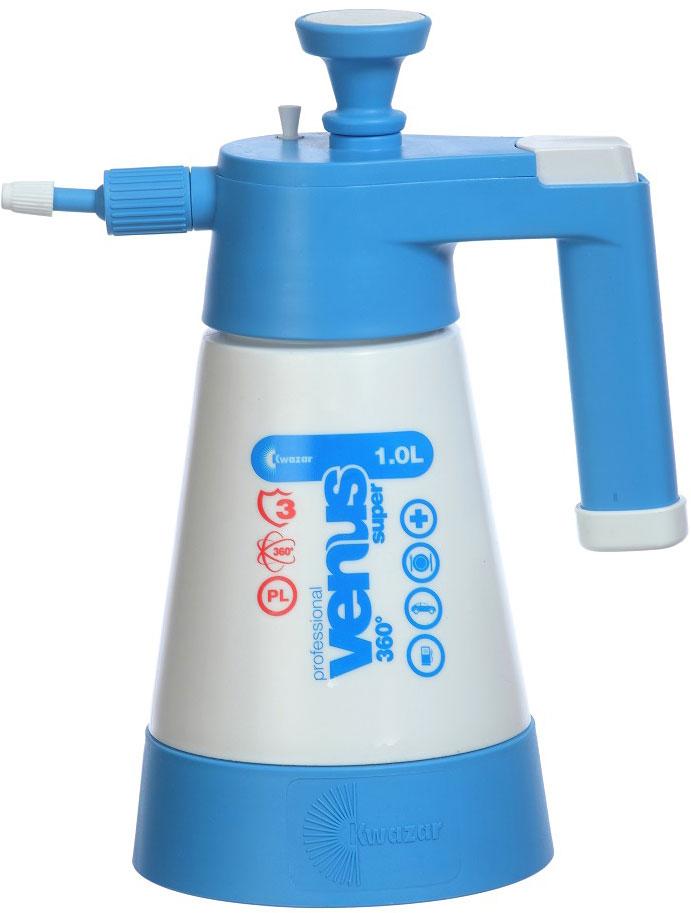 Опрыскиватель компрессионный Kwazar Venus Pro+ 360, цвет: белый, голубой, 1 л опрыскиватель компрессионный kwazar venus супер 360 цвет оранжевый 1 л