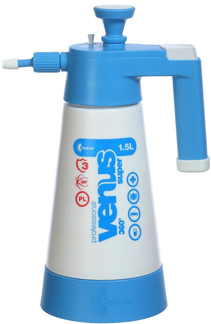 Опрыскиватель компрессионный Kwazar Venus Pro+ 360, цвет: белый, голубой, 1,5 л компрессионный опрыскиватель venus супер kwazar 1 5л