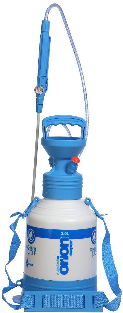Опрыскиватель компрессионный Kwazar Orion Pro+, цвет: белый, голубой, 3 л опрыскиватель компрессионный kwazar venus супер 360 цвет оранжевый 1 л