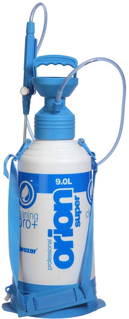 Опрыскиватель компрессионный Kwazar Orion Pro+, цвет: белый, голубой, 9 л компрессионный опрыскиватель venus супер kwazar 1 5л