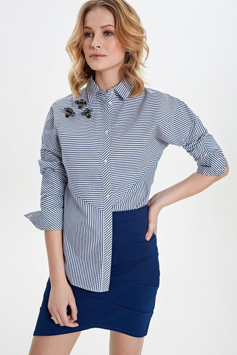 Купить Блузка женская Concept Club Binny, цвет: синий, белый. 10200260244_4400. Размер M (46)