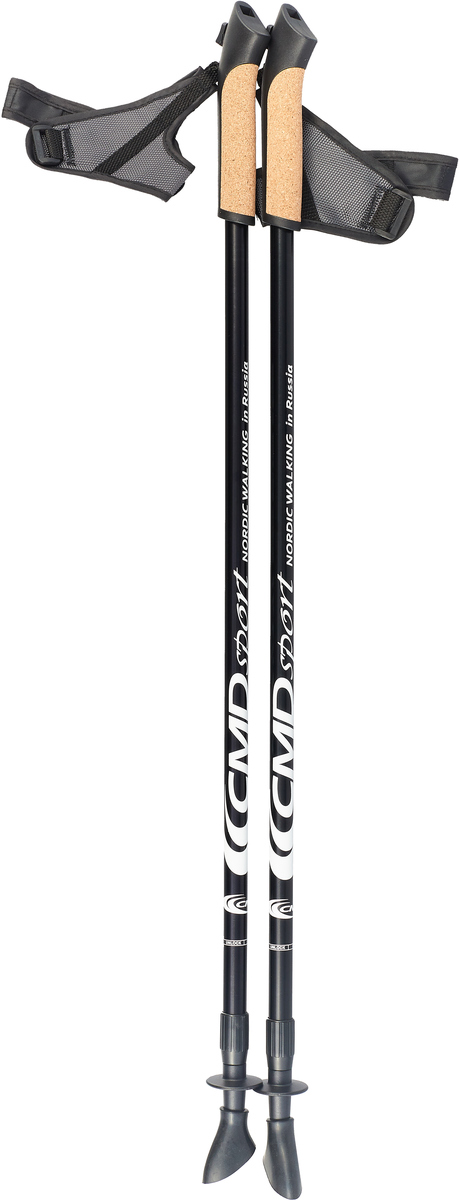 """Палки для скандинавской ходьбы """"CMD Sport"""", телескопические, цвет: черный, L-XL, длина 90-140 см, 2 шт"""