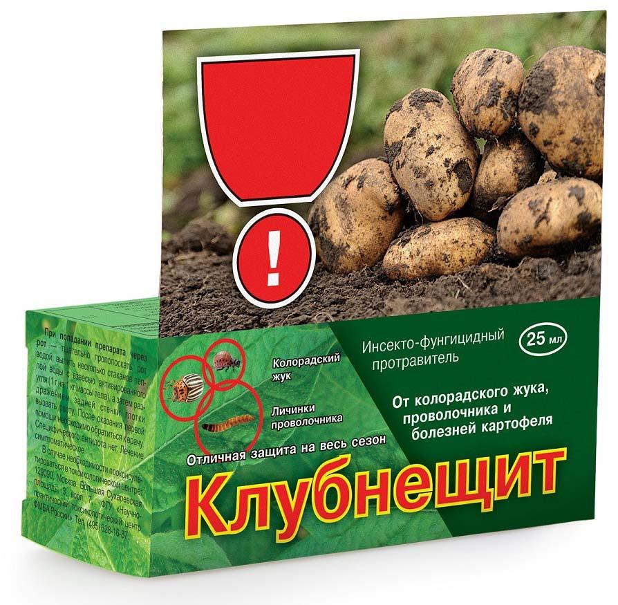 Препарат для защиты растений Ваше хозяйство Клубнещит, от вредителей, 25 млVH1035Инсекто-фунгицидный протравитель для обработки клубней картофеля против грызущих и сосущих вредителей (в т.ч. почвообитающих), а также некоторых болезней (ризоктониоз, парша обыкновенная). Удобен и экономичен в применении! Флакона 60 мл достаточно для обработки 60 кг клубней (примерно на 2 сотки!).