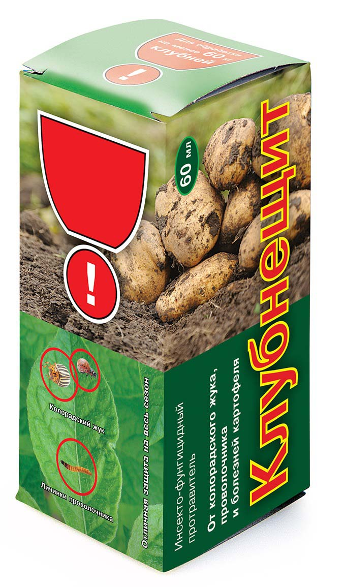 Препарат для защиты растений Ваше хозяйство Клубнещит, от вредителей, 60 млVH1036Инсекто-фунгицидный протравитель для обработки клубней картофеля против грызущих и сосущих вредителей (в т.ч. почвообитающих), а также некоторых болезней (ризоктониоз, парша обыкновенная). Удобен и экономичен в применении! Флакона 60 мл достаточно для обработки 60 кг клубней (примерно на 2 сотки!).