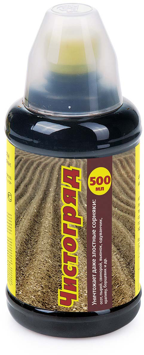 Препарат для защиты растений Ваше хозяйство Чистогряд, для борьбы с сорняками, 500 млVH1070Гербицид широкого спектра действия, уничтожает самые злостные сорняки (осот, пырей, свинорой, вьюнок и другие); обработанные сорняки не отрастают вновь. В почве Чистогряд распадается на естественные вещества.