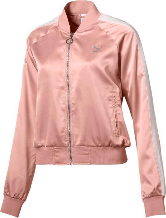 Бомбер женский Puma En Pointe Satin T7 Jacket, цвет: персиковый. 57549331. Размер L (46/48)