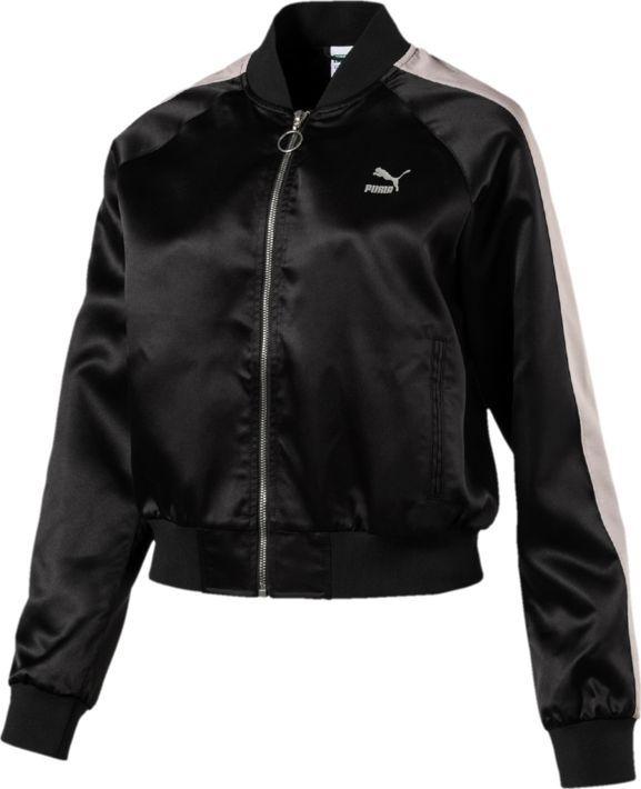 Бомбер женский Puma En Pointe Satin T7 Jacket, цвет: черный. 57549301. Размер XXL (50/52)