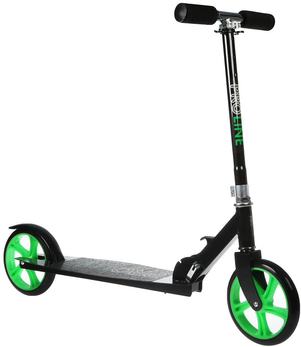 Самокат Proline GT9455, двухколесный, цвет: черно-зеленый1017324Самокат данной серии предназначен для детей от 6 лет. Этот стильный самокат является идеальным вариантом для любителей активного отдыха. Катаясь на самокате можно не только получать приятные эмоции, но и благотворно воздействовать на здоровье и физическое развитие ребенка. На длинной платформе помещаются обе ноги, поэтому хорошо оттолкнувшись, он сможет какое-то время спокойно ехать по инерции. Регулируемый по высоте руль оснащен удобными шероховатыми грипсами, препятствующими соскальзыванию рук. Рама самоката выполнена из металла, полиуретановые колеса с надежными подшипниками имеют высокую степень отскока. Надежный ножной тормоз обеспечит быстрое торможение.Максимальная нагрузка 100 кг.