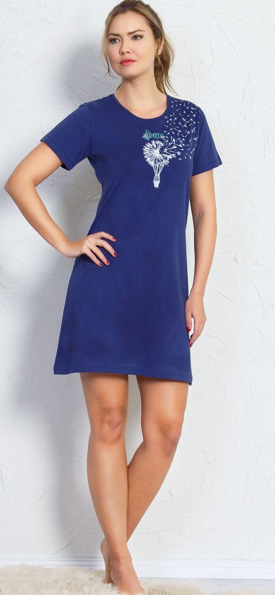 Туника домашняя женская Vienetta's Secret Одуванчик, цвет: темно-синий. 709051 0000. Размер XL (50)