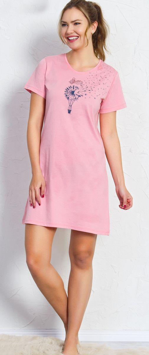 Туника домашняя женская Vienetta's Secret Одуванчик, цвет: розовый. 709051 0000. Размер XL (50)