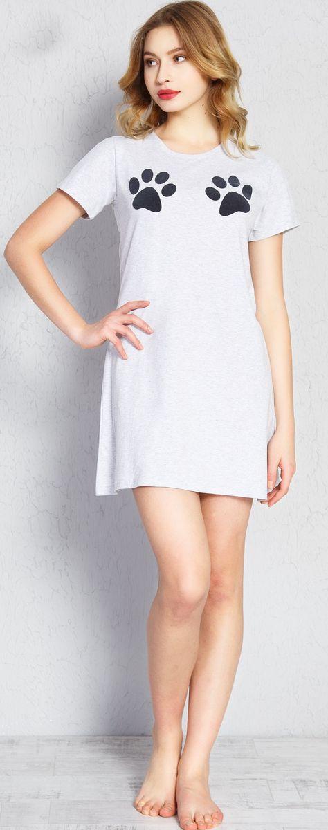 Туника домашняя женская Vienetta's Secret Лапки, цвет: серый меланж. 709055 0000. Размер XL (50)