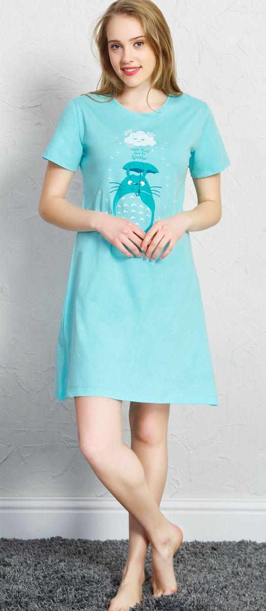 Туника домашняя женская Vienetta's Secret Кот, цвет: светло-бирюзовый. 710238 0000. Размер XL (50)