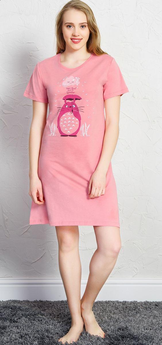 Туника домашняя женская Vienetta's Secret Кот, цвет: розовый. 710238 0000. Размер XL (50)