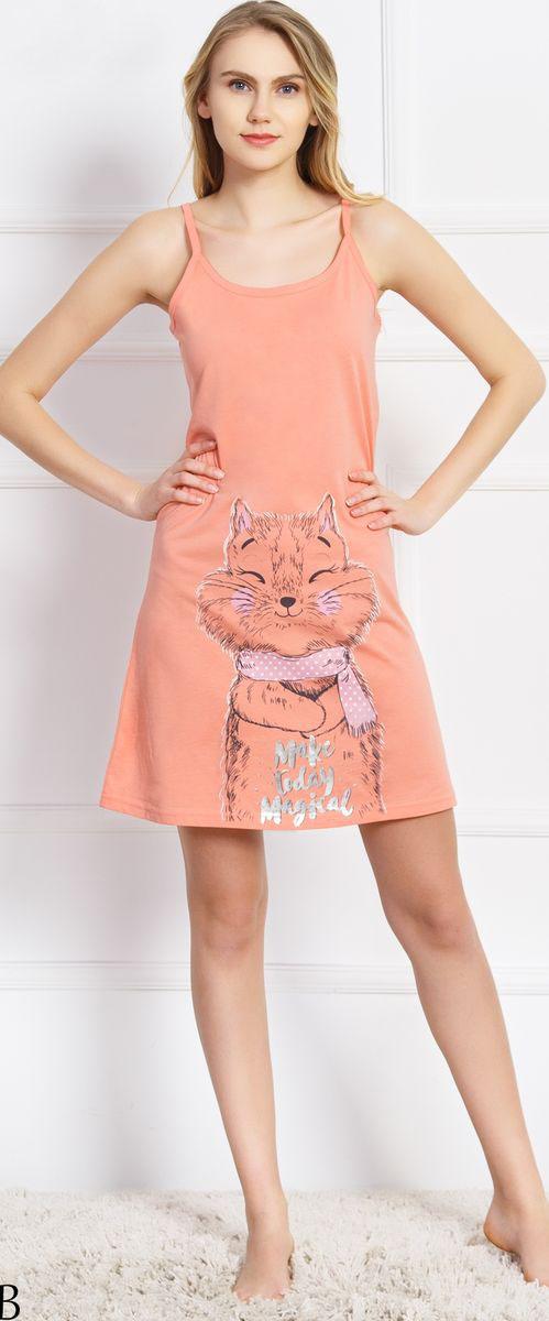 Туника домашняя женская Vienetta's Secret Make Today Magkat, цвет: персиковый. 710466 0000. Размер XL (50)