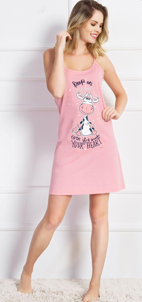 Туника домашняя женская Vienetta's Secret Even If It Breaks Your Heart, цвет: розовый. 710467 0000. Размер XL (50)