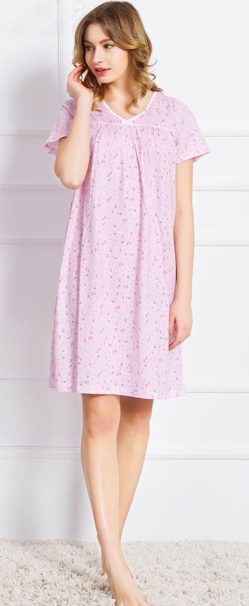 Ночная рубашка женская Vienetta's Secret Васильки, цвет: розовый. 160379 9200. Размер XL (50) ночная рубашка женская коллекция цвет темно синий осрн 18 размер 56