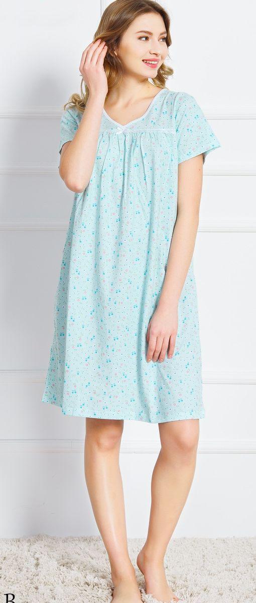Ночная рубашка женская Vienetta's Secret Васильки, цвет: зеленый. 160379 9200. Размер XL (50) ночная рубашка женская коллекция цвет темно синий осрн 18 размер 56