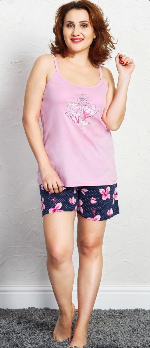 Комплект домашний женский Vienetta's Secret Плюмерия, цвет: розовый, синий. 709093 6567. Размер 3XL (54) домашний комплект женский sevim топ шорты цвет кремовый 10281 sv размер l 44 46