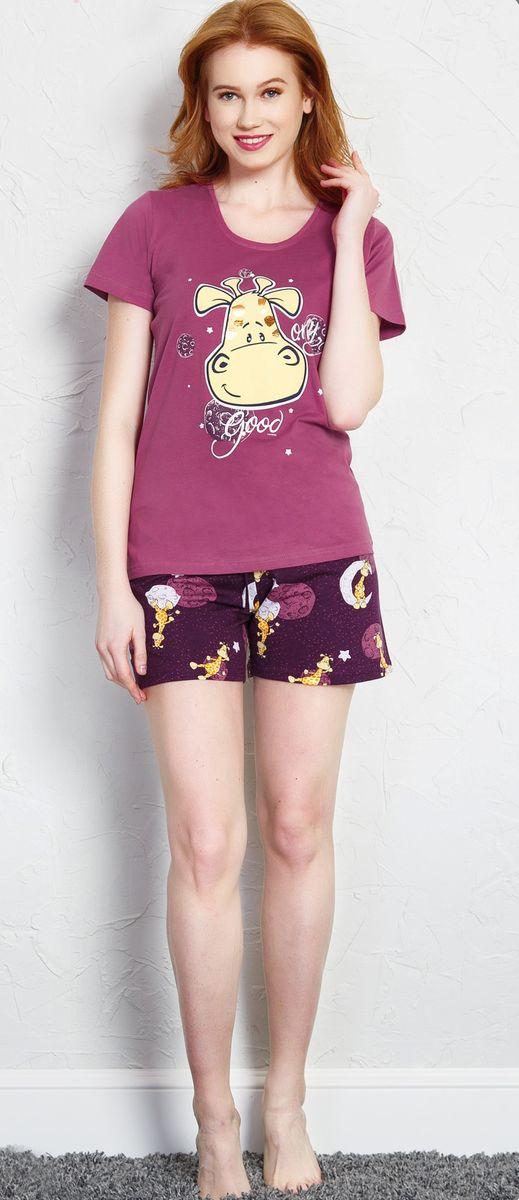 Купить Комплект домашний женский Vienetta's Secret Жираф, цвет: фиолетовый. 708032 0442. Размер L (48)