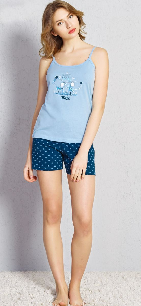 Комплект домашний женский Vienetta's Secret Smile, цвет: голубой. 709019 2564. Размер XL (50) домашний комплект женский sevim топ шорты цвет кремовый 10281 sv размер l 44 46