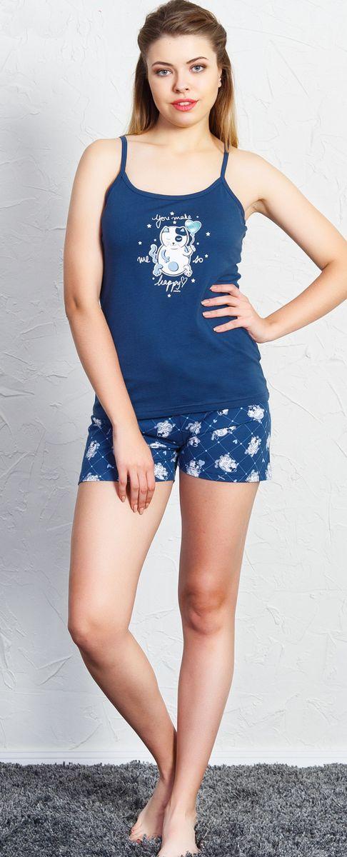 Комплект домашний женский Vienetta's Secret Me Happy, цвет: темно-синий. 707018 3270. Размер XL (50) домашний комплект женский sevim топ шорты цвет кремовый 10281 sv размер l 44 46