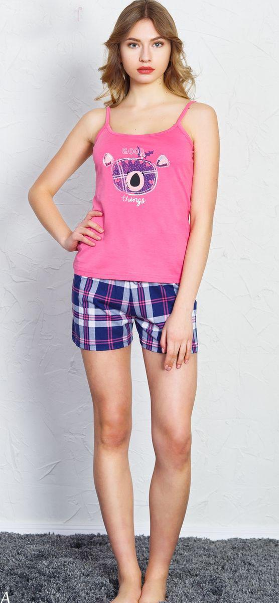Комплект домашний женский Vienetta's Secret Good Things, цвет: малиновый, синий. 709029 2522. Размер XL (50) домашний комплект женский sevim топ шорты цвет кремовый 10281 sv размер l 44 46