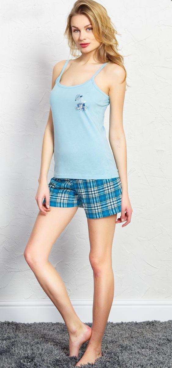 Комплект домашний женский Vienetta's Secret Good Sings, цвет: светло-бирюзовый. 709154 5561. Размер XL (50) домашний комплект женский sevim топ шорты цвет кремовый 10281 sv размер l 44 46