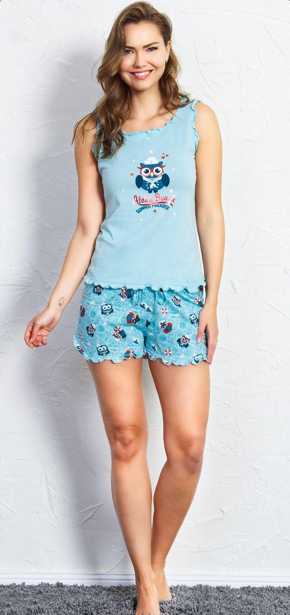 Комплект домашний женский Vienetta's Secret Aloha Beach, цвет: светло-бирюзовый. 708051 0873. Размер XL (50) домашний комплект женский sevim топ шорты цвет кремовый 10281 sv размер l 44 46