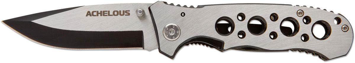 Нож складной Ножемир Четкий расклад. Achelous, цвет: серый металлик, длина лезвия 7,5 смA-141Складной нож Achelous скелетного типа добавит индивидуальности своему владельцу. Облегченная рукоять, уменьшает конечный вес ножа. Изготовленный из нержавейки, Achelous прекрасно подойдет для использования как в городе, при выезде на пикник, так и в походной жизни.