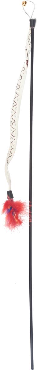 Игрушка-дразнилка для кошек GLG Хвост с перьями, длина 60 см игрушка дразнилка для кошек glg страус на резинке 4 см