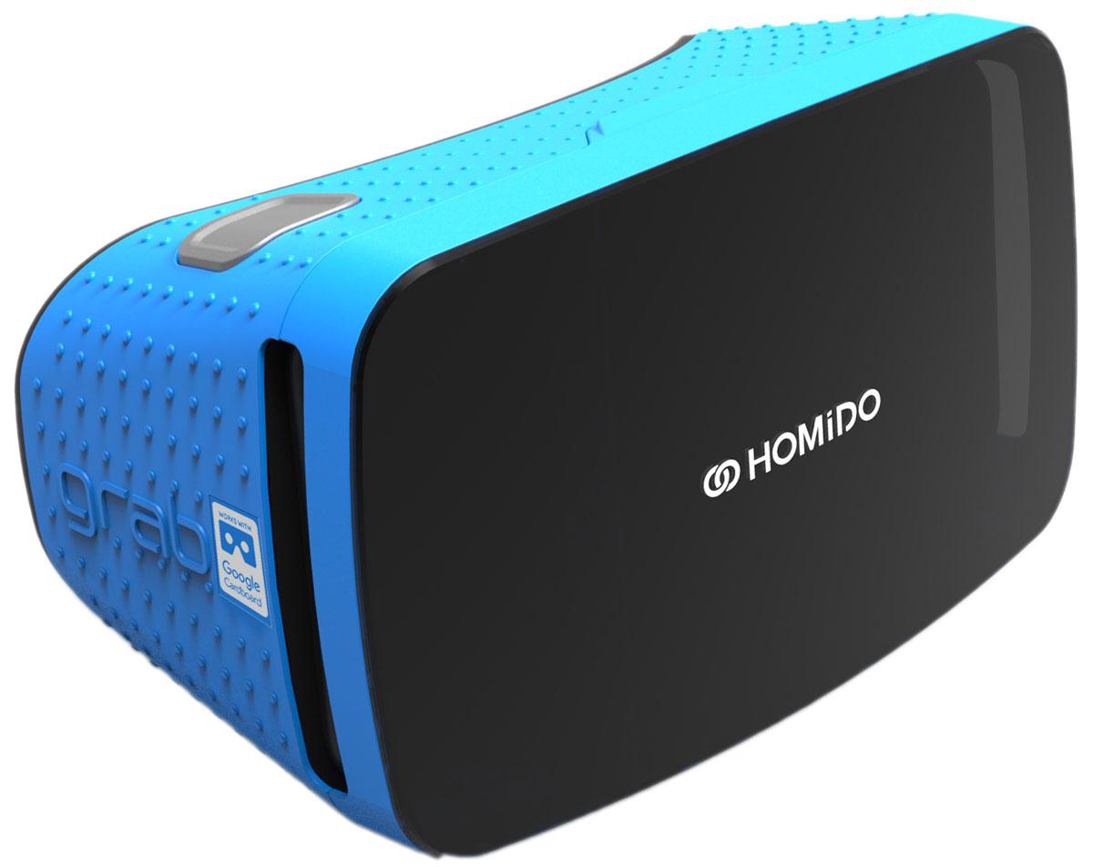 Homido Grab HMDG-LB, Blue очки виртуальной реальностиHMDG-LBHomido Grab HMDG - это очки виртуальной реальности для смартфонов (Android и IOS). Полноценное оптическое устройство для игр в виртуальной и дополненной реальности, просмотра видео 360°, 3D фильмов. Протестирован и сертифицирован компанией Google, GRAB отлично работает с тысячами приложений, сделанных для экосистемы Google Cardboard.Grab разработан со встроенной кнопкой магнитометра для действий во время эксплуатации вашего смартфона без необходимости вынимания его из крепления.Линзы высокого качества, сделанные инженерами Homido, обеспечивают исключительный угол обзора 100° для потрясающего 3D опыта!Крепление позволяет бережно фиксировать ваш смартфон с диагональю от 4,5 до 5,7 дюймов без зажимания функциональных кнопок.Благодаря прозрачной передней панели, Grab совместим с приложениями дополненной реальности.
