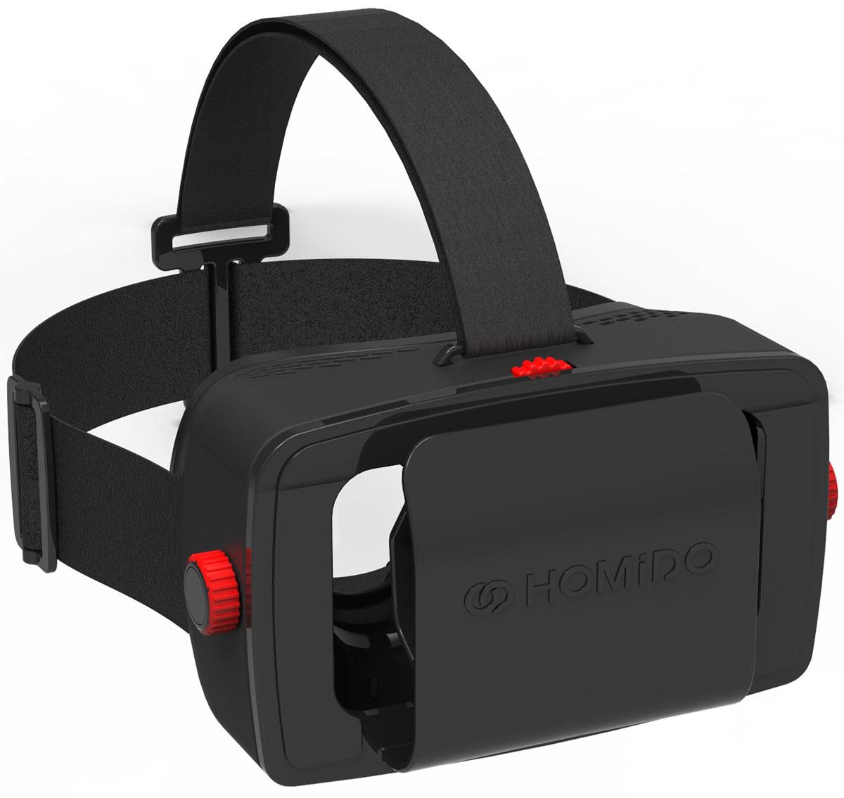 Homido V1 HMD-01, Black очки виртуальной реальностиHMD-01Очки виртуальной реальности для смартфонов (Android и IOS)Полноценное оптическое устройство для игр в виртуальной и дополненной реальности, просмотра видео 360°, 3D фильмов Непревзойденный комфорт очков, мягко сидящие на вашем лице и не беспокоящие на протяжении длительного времени использования.Специальные линзы обеспечивающие сверх четкое изображение без искажений по всему спектру. Бережное и удобное крепление вашего смартфона.