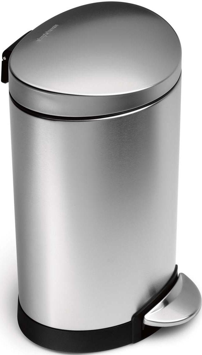 Бак для мусора Simplehuman, с педалью, 6 лCW1834CB-SHОтлично подходит для помещений с интенсивной проходимостью, его можно поставить вплотную к стене. Финишная обработка металла защищает изделие от грязи и появления отпечатков пальцев и сохраняет его внешний блеск.