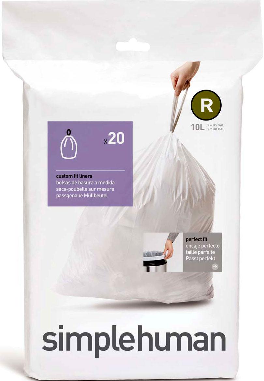 Мешки для мусора Simplehuman, 10 л, 20 штCW0201-SHМусорные пакеты SH идеально соответствуют форме бака, не соскальзывают и остаются полностью скрытыми под крышкой. Экстра толстый пластик и конструкция двойного шва предотвращают разрывы и протекания мешка.