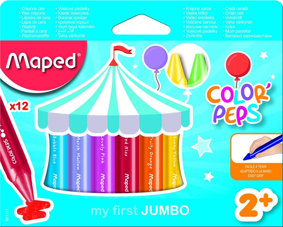 Maped Color Peps Восковые мелки 12 шт карандаши восковые мелки пастель maped карандаши color peps 12 цветов в пластиковом пенале с точилкой и ластиком