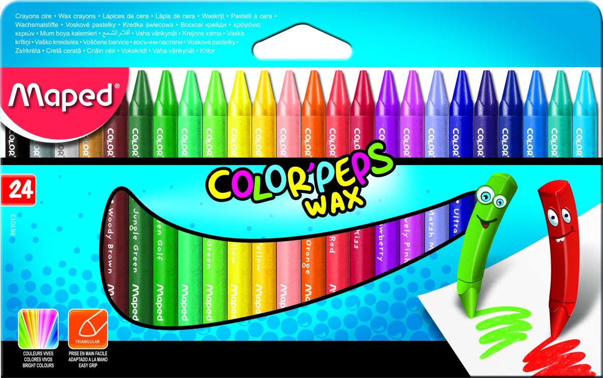 Maped Восковые мелки 24 шт карандаши восковые мелки пастель maped карандаши color peps 12 цветов в пластиковом пенале с точилкой и ластиком