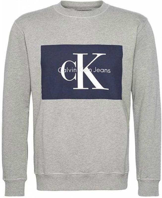 Свитшот мужской Calvin Klein Jeans, цвет: серый. J30J306988_0350. Размер XXL (52/54) ollin professional style лосьон спрей для укладки волос средней фиксации lotion spray medium 250 мл